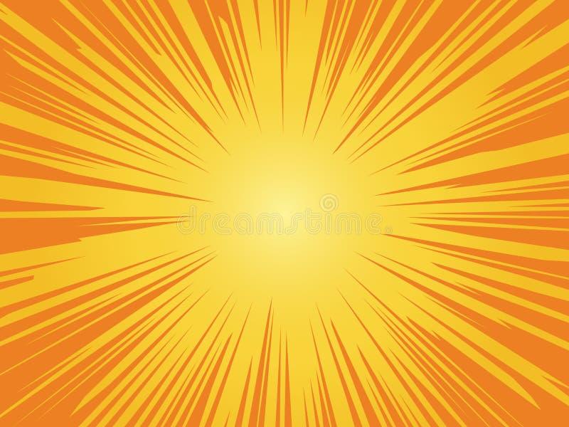 Fundo solar alaranjado Design brilhante do círculo de safra sunrise com estrutura de vetor de raios gráficos amarelos estrela de  ilustração do vetor