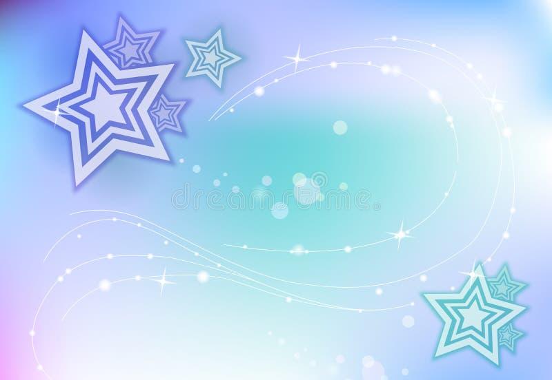 Fundo Sparkling azul com estrelas foto de stock