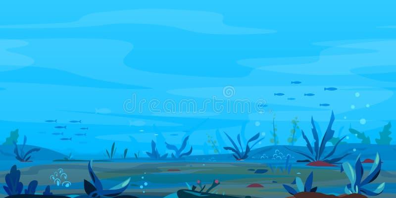 Fundo subaquático do jogo da paisagem ilustração stock