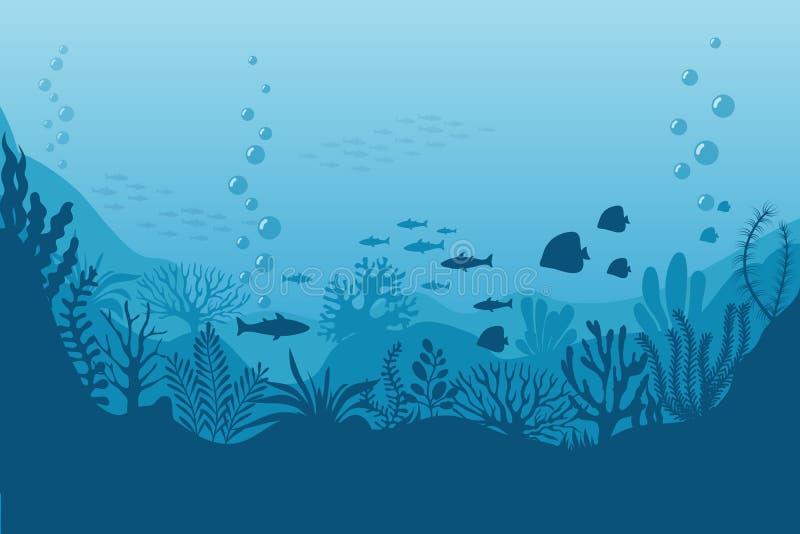 Fundo subaquático do mar Parte inferior de oceano com algas Cena do fuzileiro naval do vetor ilustração royalty free