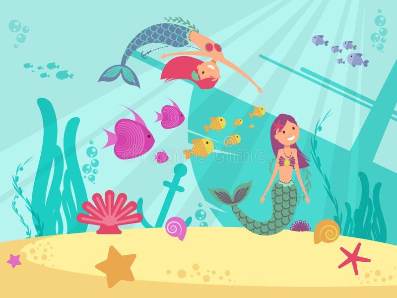 Fundo subaquático do vetor do conto de fadas dos desenhos animados com sereias ilustração do vetor
