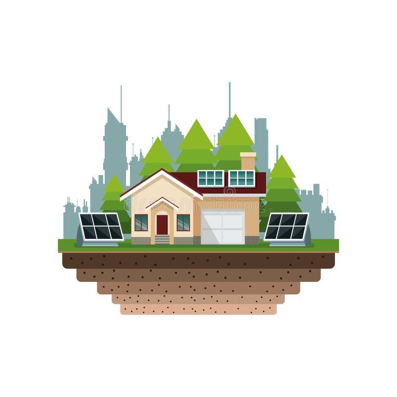 Fundo suburbano da cidade do painel solar da casa ilustração do vetor