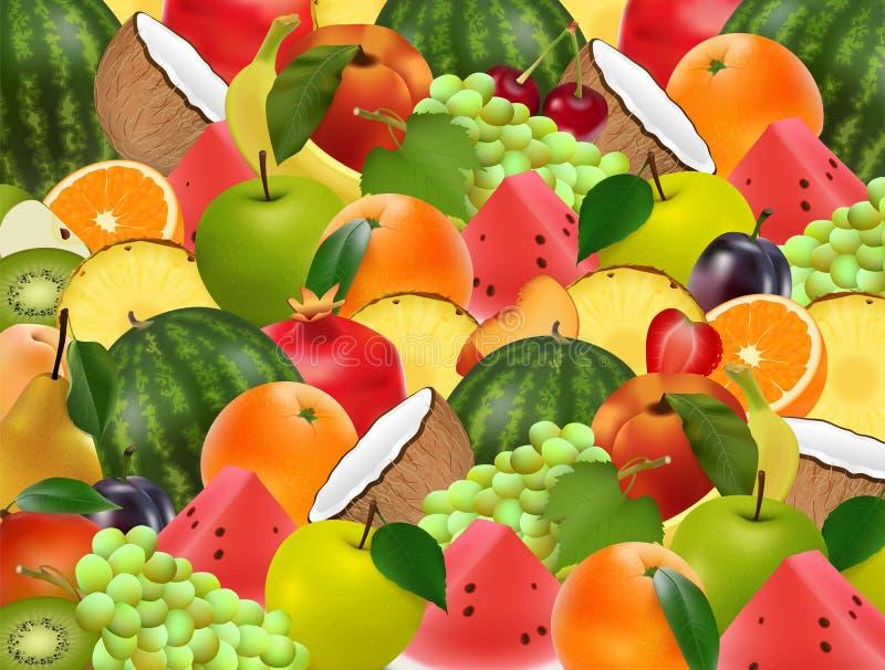 Fundo suculento maduro frutado Uma variedade de frutas ilustração do vetor