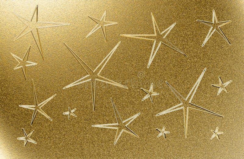 Fundo sujo dourado com as cinco estrelas aguçado ilustração do vetor
