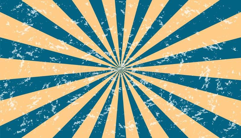 Fundo Sunburst resistido azul e bege - ilustração Textured do vetor ilustração do vetor