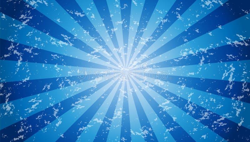 Fundo Sunburst resistido azul e branco - ilustração Textured do vetor ilustração do vetor