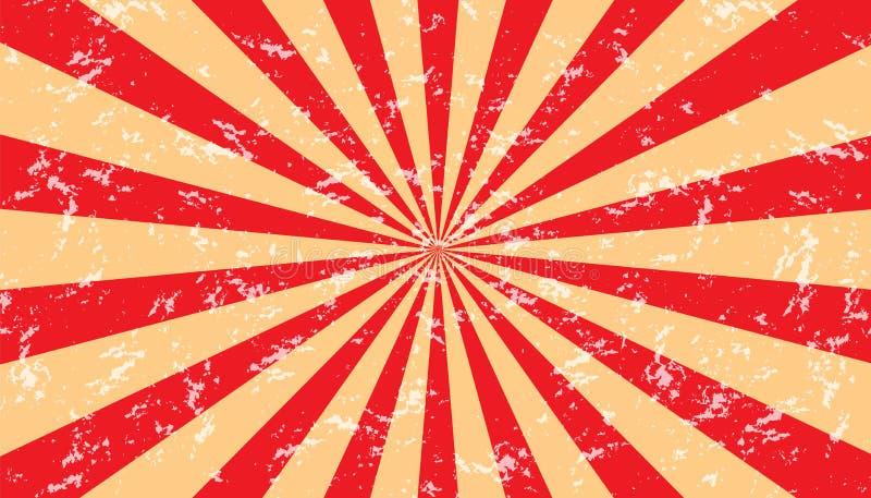 Fundo Sunburst resistido vermelho e bege - ilustração Textured do vetor ilustração royalty free