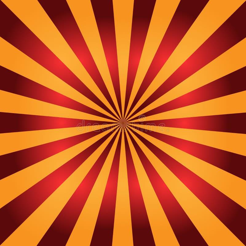 Fundo Sunburst vermelho e alaranjado Raias radiais ilustração abstrata do vetor ilustração royalty free