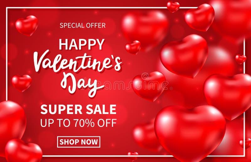 Fundo super da venda do dia de Valentim com corações 3d e rotulação lustrosos vermelhos da mão Balões vermelhos de voo do coração ilustração do vetor