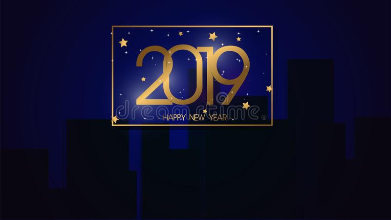 Fundo 2019 superior do ano novo feliz da ilustração do vetor para o cartão novo e o outro grande projeto moderno e luxuoso ilustração stock