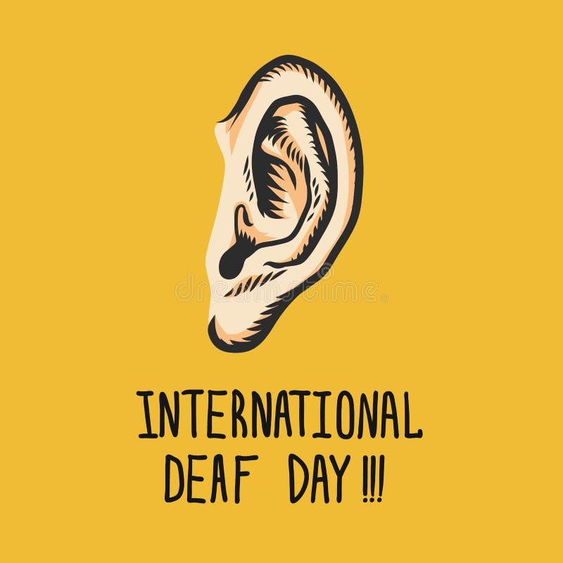 Fundo surdo internacional amarelo do conceito do dia, estilo tirado mão ilustração stock