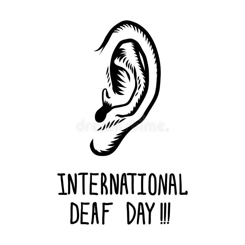 Fundo surdo internacional do conceito do dia, estilo tirado mão ilustração do vetor