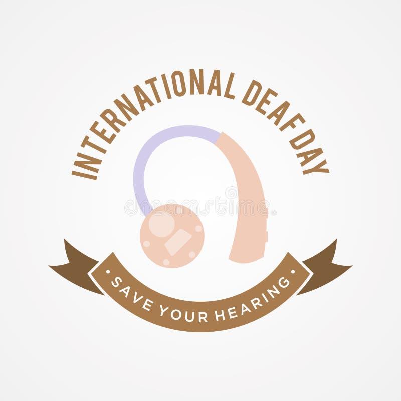 Fundo surdo internacional do conceito do emblema do dia no estilo liso ilustração stock