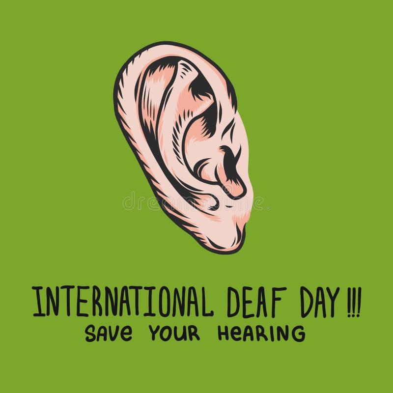 Fundo surdo internacional do conceito do verde do dia, estilo tirado mão ilustração do vetor