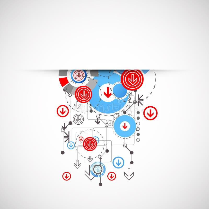 Fundo tecnologico abstrato com círculos e setas ilustração do vetor