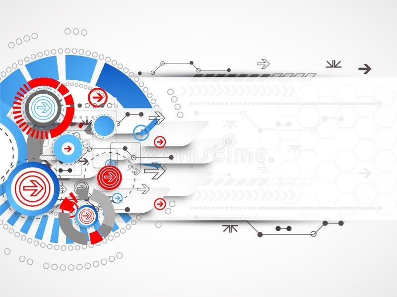 Fundo tecnologico abstrato com círculos e setas ilustração royalty free