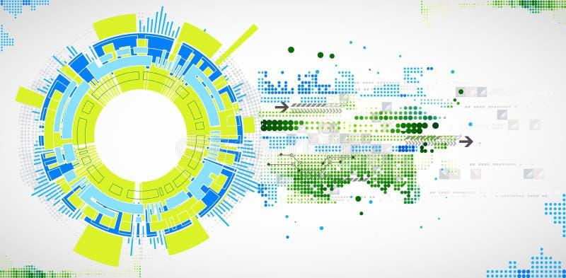 Fundo tecnologico abstrato com vários elementos tecnologicos ilustração royalty free