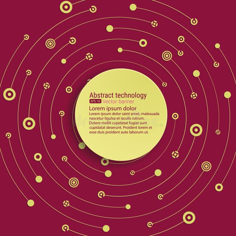 Fundo tecnologico do vetor com uma bandeira redonda para o texto A interseção dos círculos, dos pontos e das linhas O movimento c ilustração stock