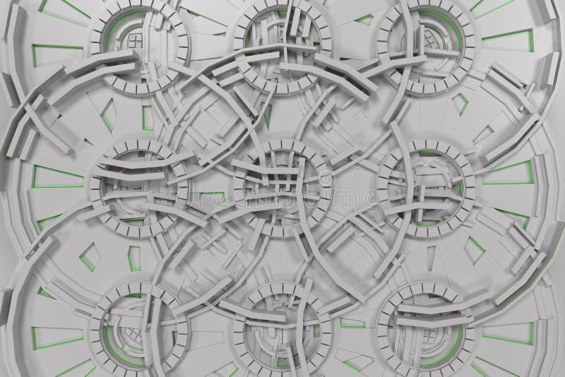 Fundo tecnologico futurista branco com linhas de incandescência ilustração royalty free