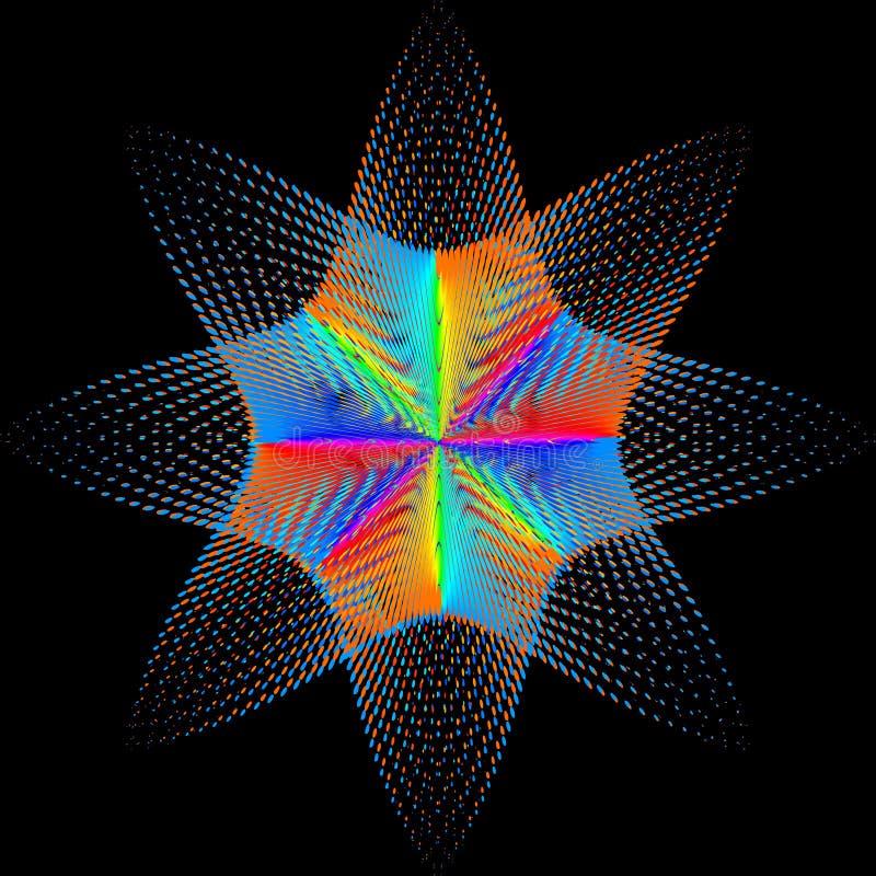Fundo, textura, abstração O ponto da cor uma estrela ou uma flor é isolado no fundo preto ilustração royalty free