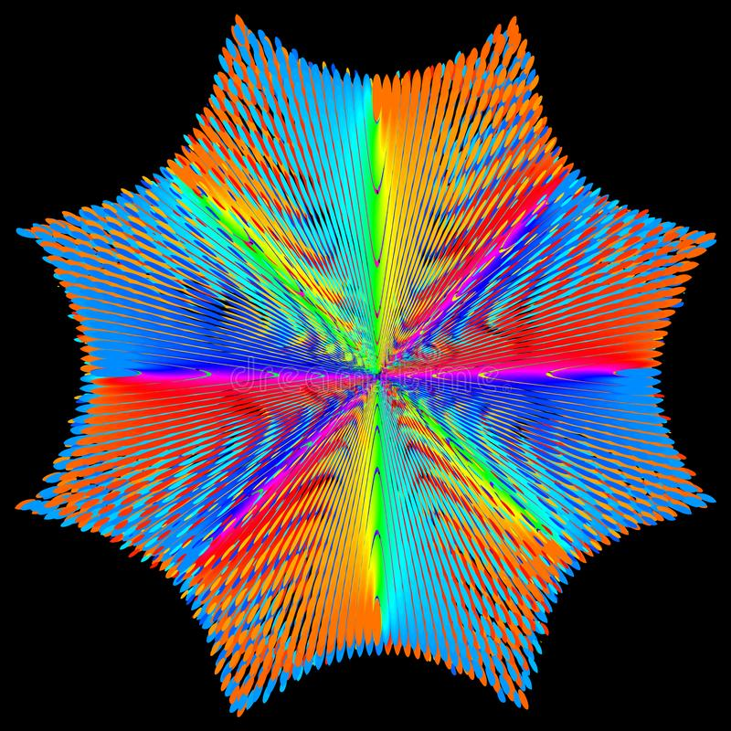 Fundo, textura, abstrata A estrela ou a flor da cor são isoladas no fundo preto ilustração do vetor