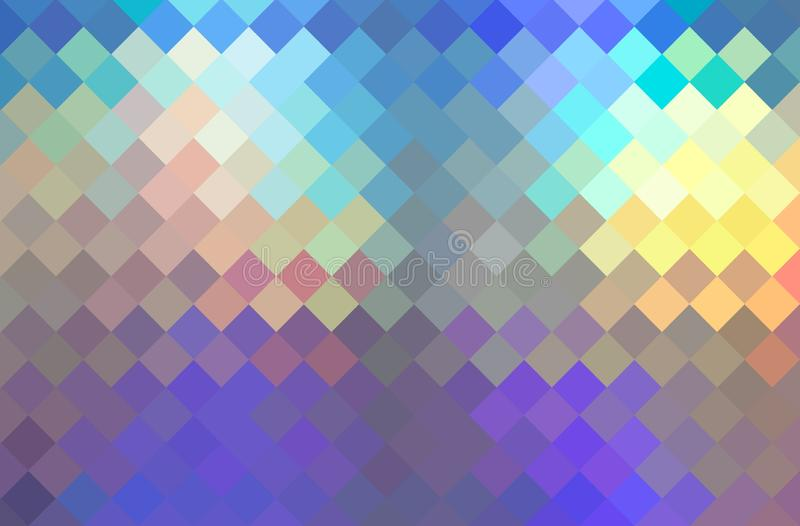 Fundo textured do mosaico lilás amarelo azul do holograma Vislumbrar o teste padrão de cristal criativo ilustração do vetor