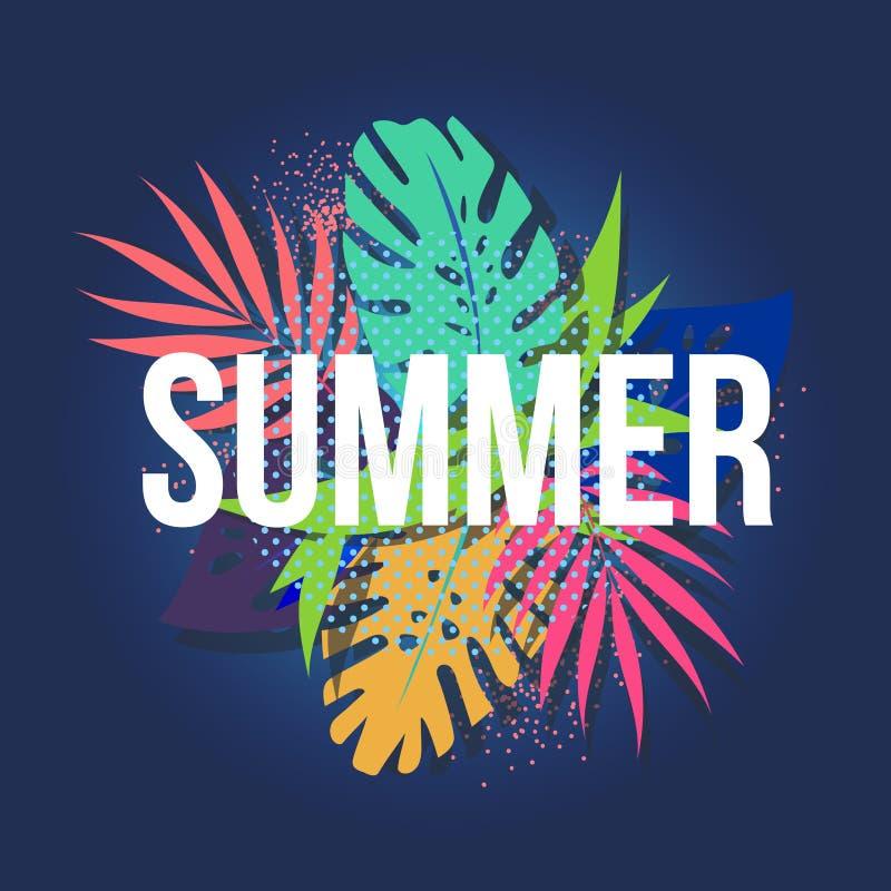 Fundo tipográfico da ilustração do feriado das horas de verão do vetor Plantas tropicais, flowe Projeto do EPS 10 ilustração stock
