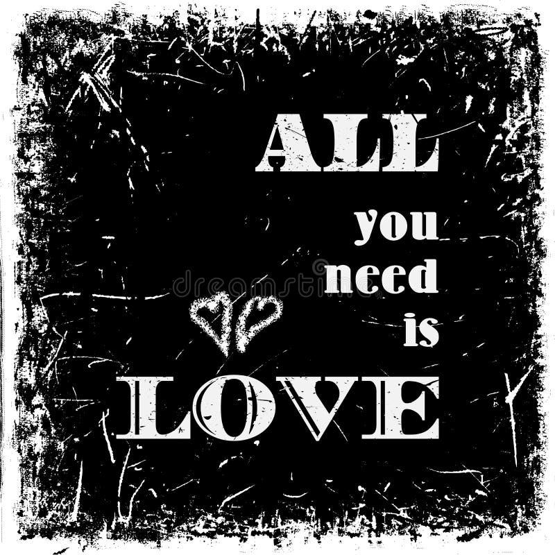 Fundo tipográfico das citações, projeto do vetor Tudo que você precisa é amor ilustração do vetor