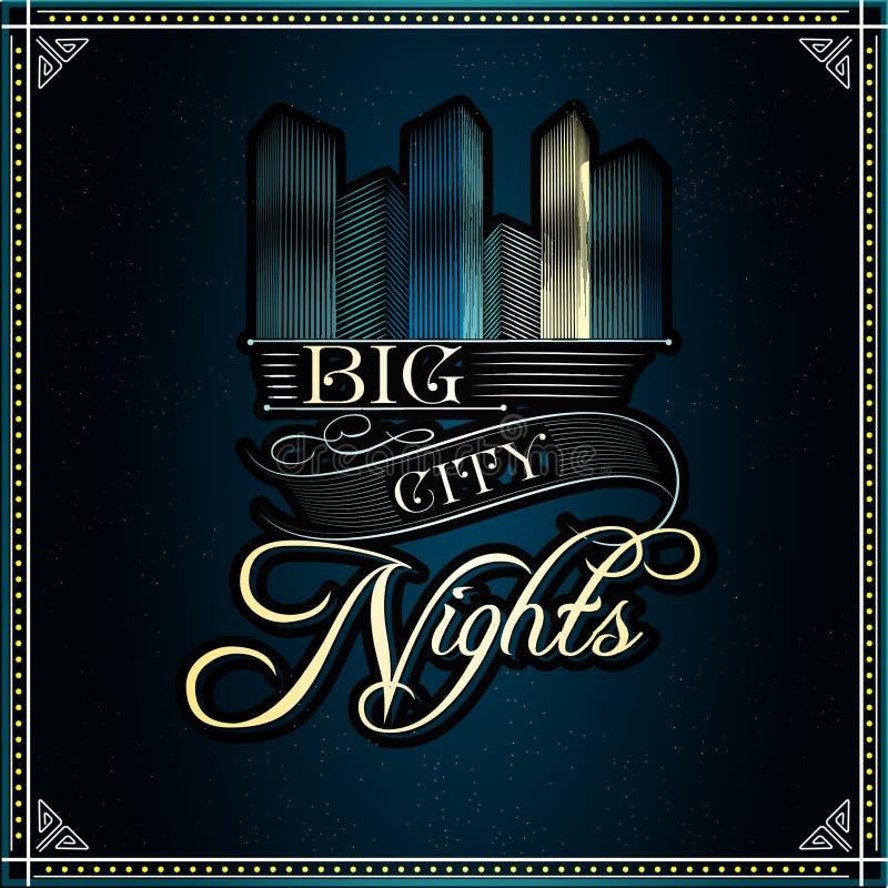 Fundo tipográfico do vetor grande das noites da cidade ilustração stock