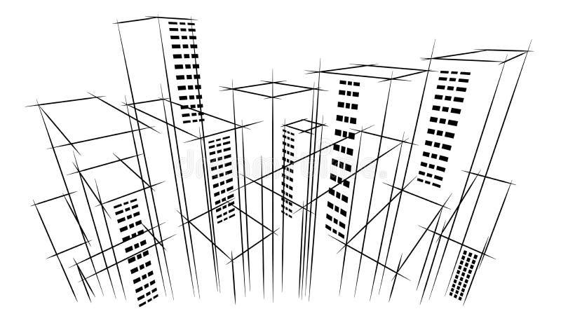 Fundo tirado da construção do negócio do arquiteto da vista aérea do esboço do raspador do céu da paisagem do horizonte da cidade ilustração royalty free