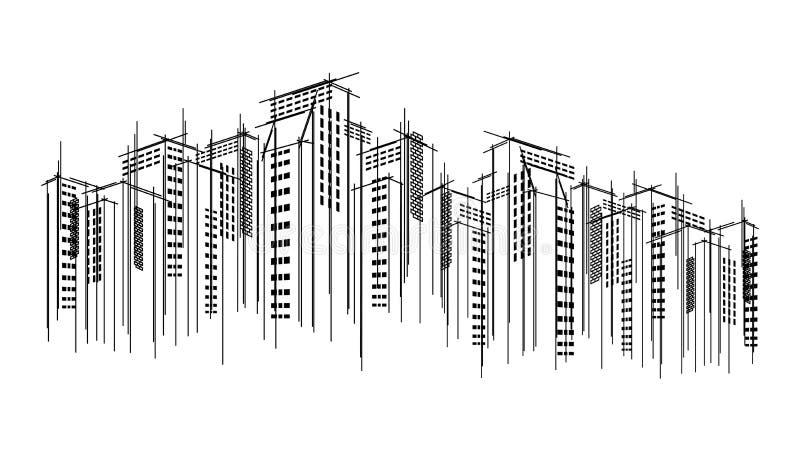 Fundo tirado do esboço do raspador do céu do scape do horizonte da cidade do vetor mão escura moderna Construção arquitetónica do ilustração stock