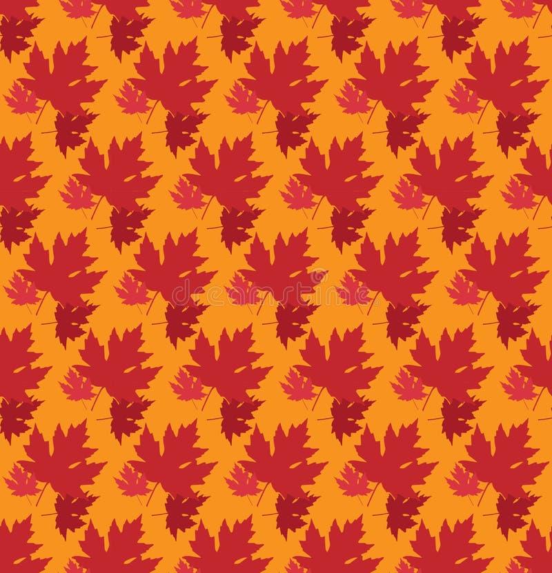 Fundo tirado do outono com folhas bonitas Teste padrão sem emenda Folhas de bordo vermelhas, vetor isoladas ou fundo alaranjado ilustração do vetor
