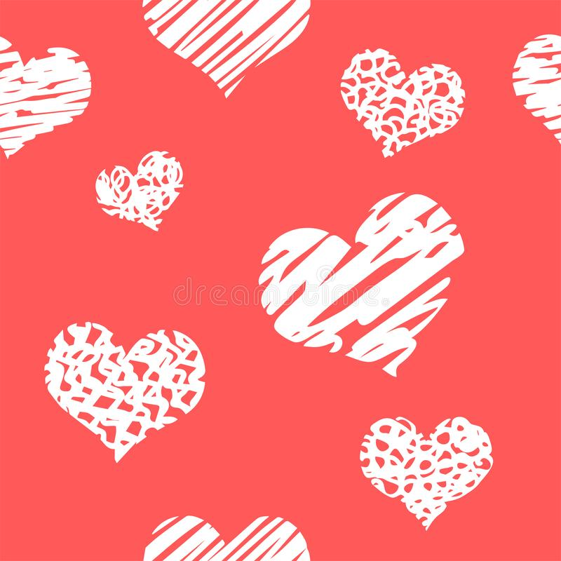 Fundo tirado mão com corações do grunge Papel de parede sujo sem emenda na superfície Textura caótica com muitos sinais do amor P ilustração do vetor