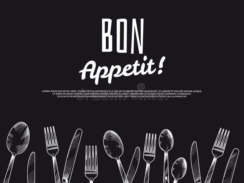 Fundo tirado mão da cutelaria do vintage Projeto preto da bandeira do appetit do bon ilustração royalty free