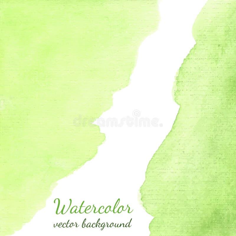 Fundo tirado mão da mancha da aquarela do vetor da mola Fundo verde abstrato para o papel de parede móvel, cartão, folheto, bande ilustração stock