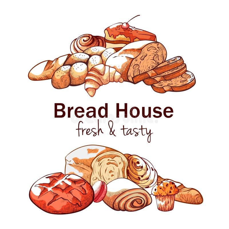 Fundo tirado mão da padaria no fundo branco ilustração royalty free