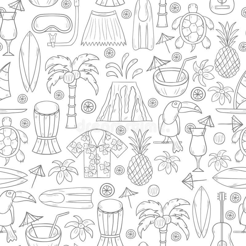 Fundo tirado mão de Havaí do vetor ilustração stock
