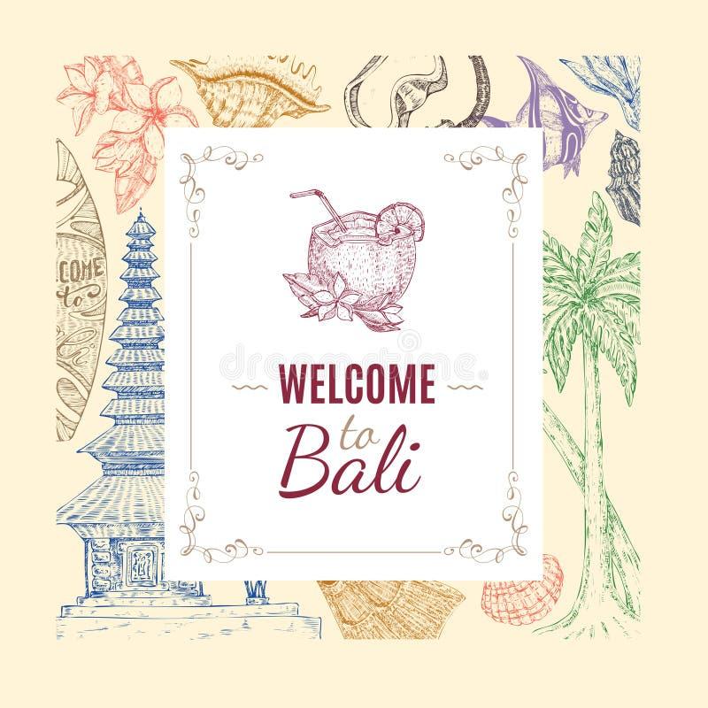 Fundo tirado mão do Balinese ilustração stock