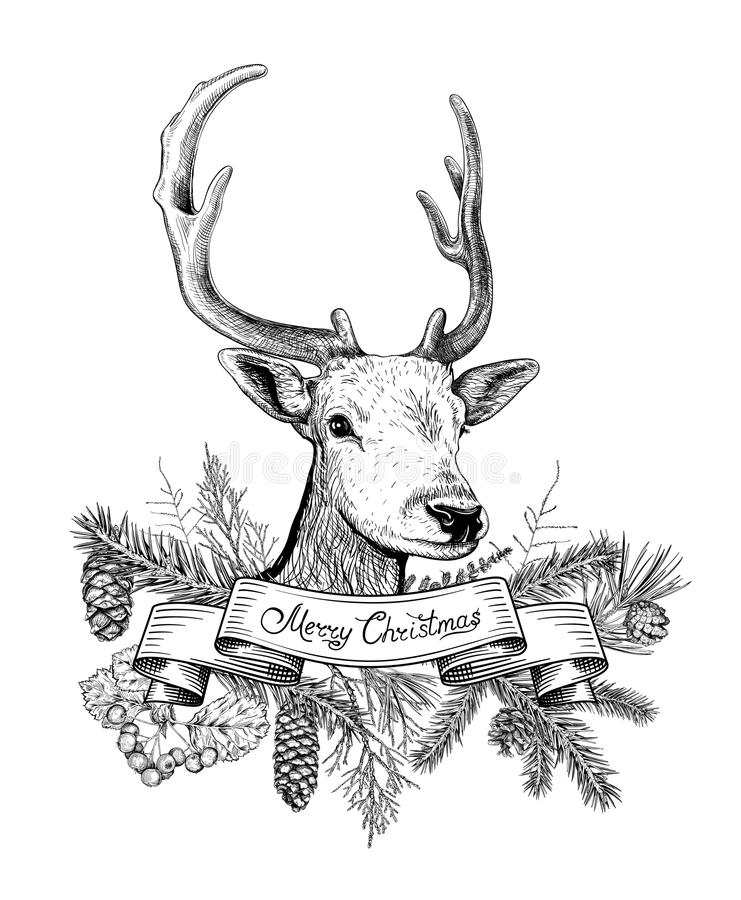 Fundo tirado mão do Natal com cervos ilustração stock