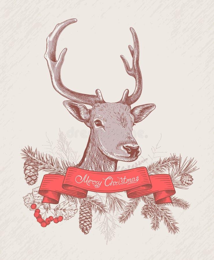 Fundo tirado mão do Natal com cervos ilustração royalty free