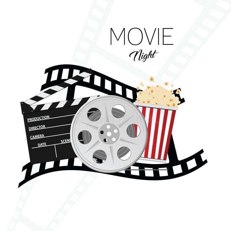 Fundo três da ilustração do cinema e da noite de cinema ilustração do vetor