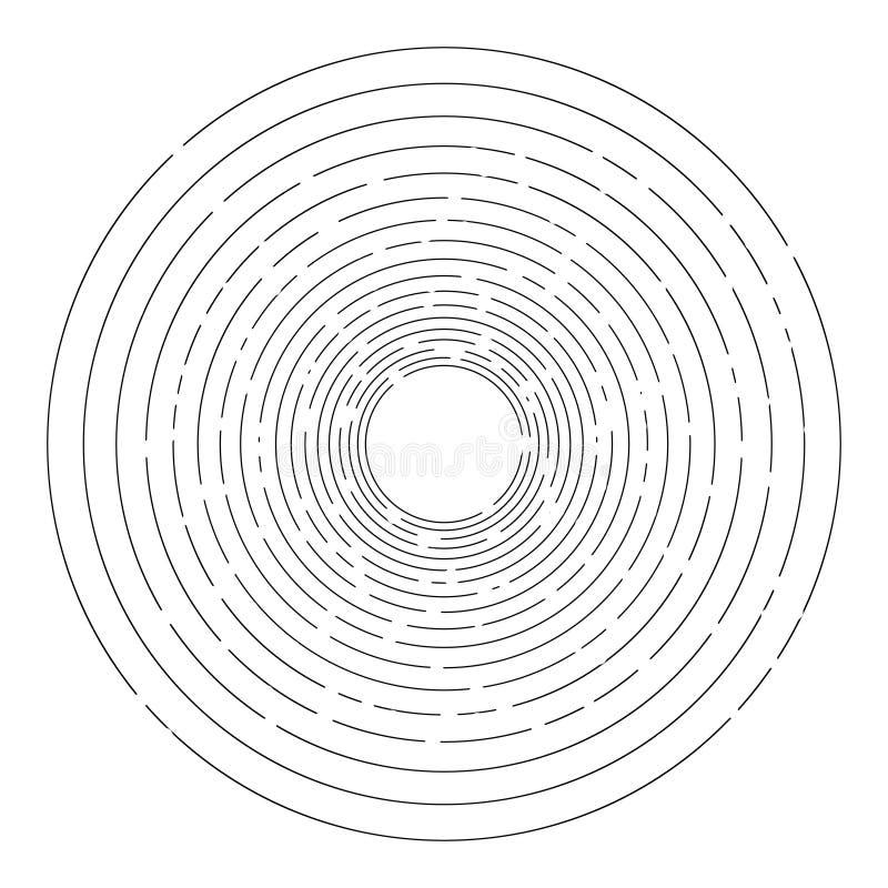 Fundo tracejado aleatório fino dos círculos concêntricos ilustração royalty free