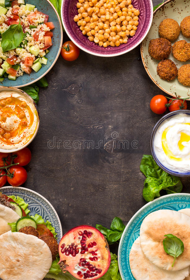 Fundo tradicional do Oriente Médio dos pratos fotos de stock royalty free