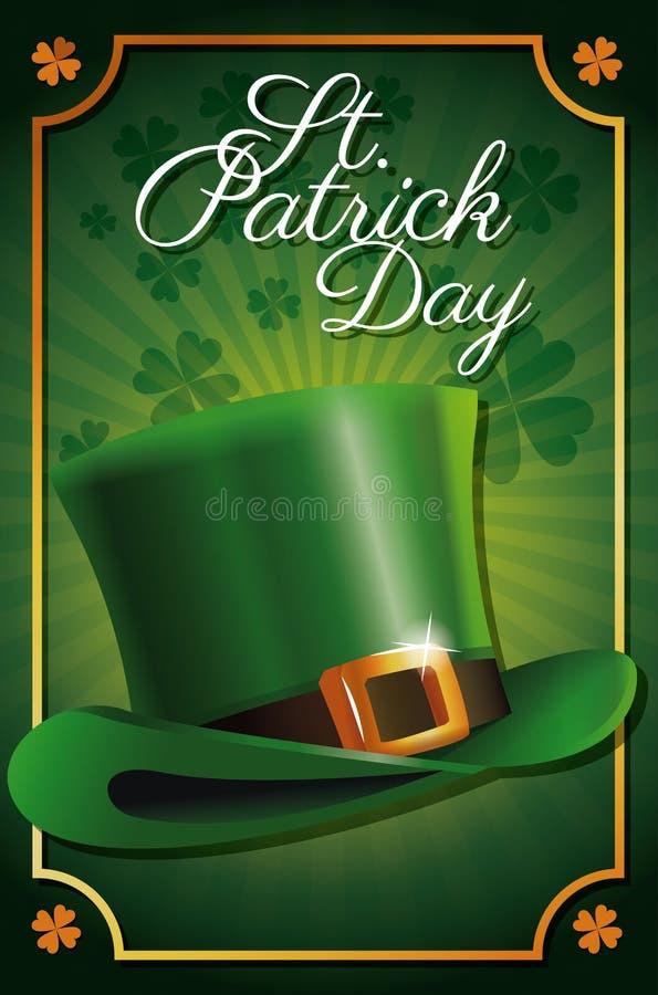 Fundo tradicional do trevo do cartaz da celebração do chapéu do duende do dia de St Patrick ilustração do vetor