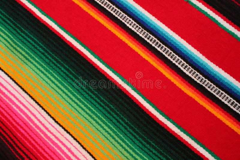 Fundo tradicional mexicano da festa do poncho do tapete do de Mayo do cinco de México com listras imagem de stock