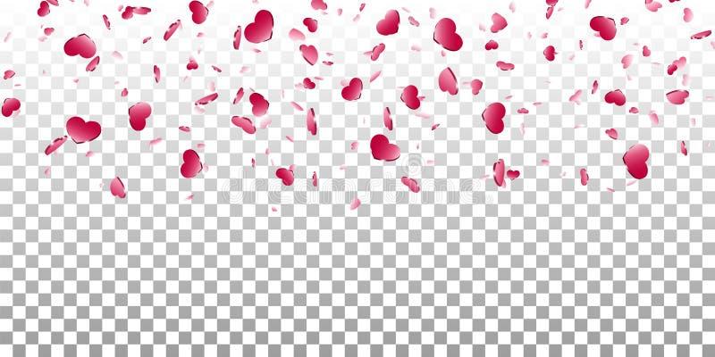 Fundo transparente branco isolado confetes de queda do cora??o Cora??es cor-de-rosa da queda Decora??o de Valentine Day Elemento  ilustração royalty free