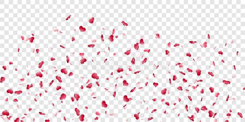 Fundo transparente branco isolado confetes de queda do cora??o Cora??es vermelhos da queda Decora??o de Valentine Day Elemento do ilustração royalty free