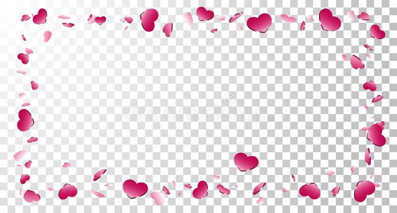 Fundo transparente branco isolado quadro do coração Os corações cor-de-rosa caem beira dos confetes Cartão abstrato do amor do pr ilustração stock