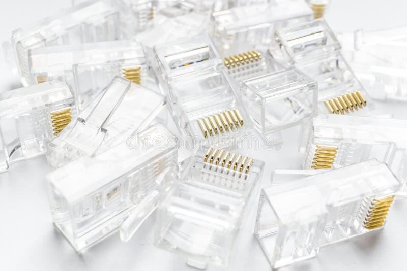 Fundo transparente dos conectores do Internet rj-45 dos ethernet no branco fotos de stock