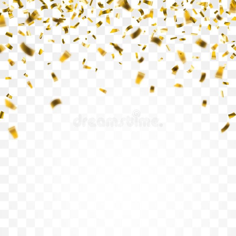 Fundo transparente dos confetes dourados ilustração royalty free